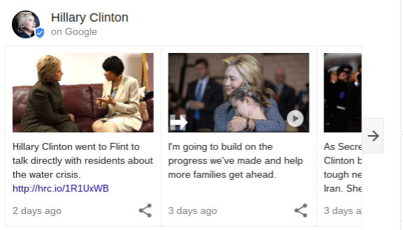 Hillary Clinton's Google Posts