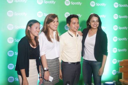 Seen at the recent first year Philippine anniversary celebration at the 12 Monkeys Music Hall and Pub in Century Mall, Makati City are Spotify Asia Managing Director Sunita Kaur and LG Philippines' Home Entertainment Product Officer Angelica Dumlao.