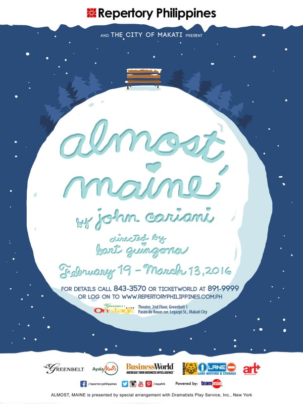 """Almost, Maine is Repertory's Valentine's offering, with a series of stories on the residents of the little town Almost, where the residents fall in and out of love in unusual ways. The New York Times has described it as a """"higher-concept and more clever version of Hollywood [love stories]"""" with a """"beautiful structure."""""""