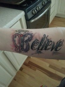 Cindy Berkley- New tattoo in honor of Jamie. Done in a watercolor design.