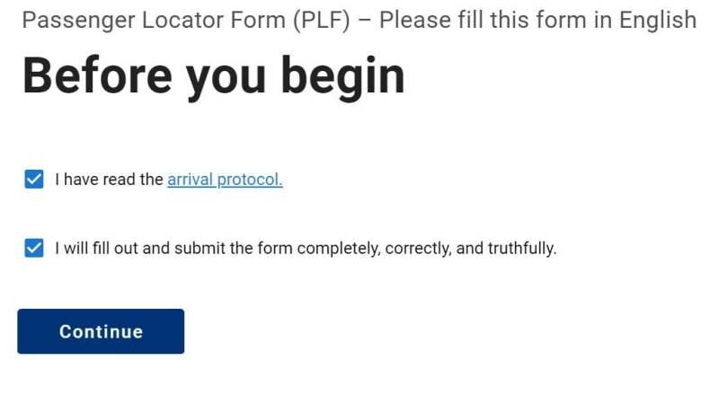 Passenger Locator Form - dichiarazioni iniziali
