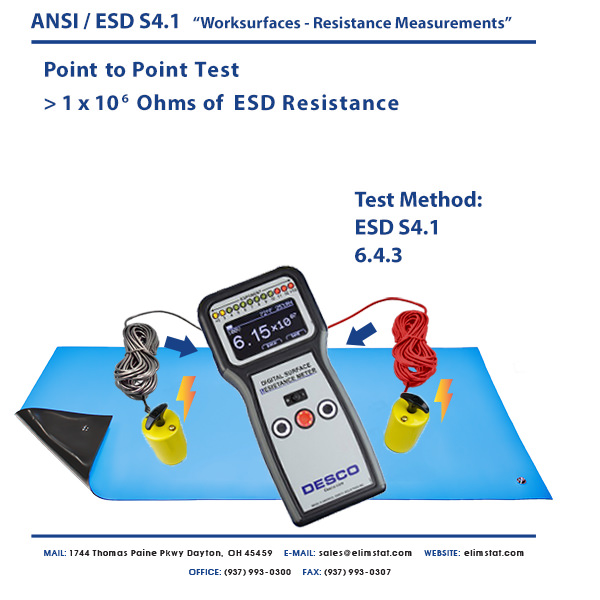 ESD Resistance Measurement RTT Top to Top Point to Point with Desco™ ESD Resistivity Meter