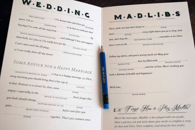 Custom wedding Madlibs booklet