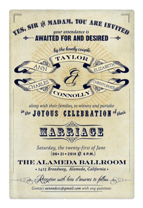 Victorian inspired wedding invitation
