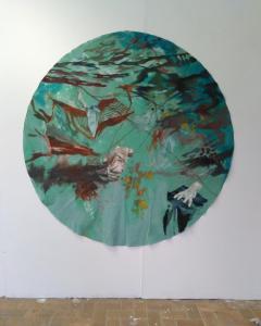 Caught,Oil paint 2018Diameter 177 cm