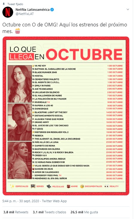 Octubre en Netflix