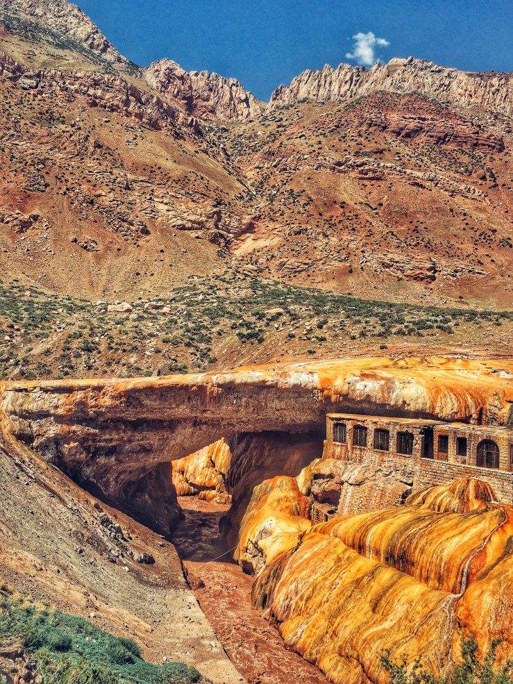 Inca Bridge at the bottom of the mountain