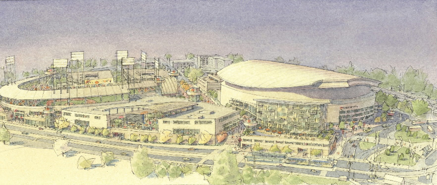 Artist rendition of the Rose Quarter with a baseball stadium.