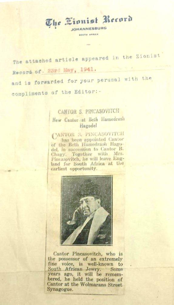 cantor pinkasovitch newspaper photo 1941 the zionist newspaper