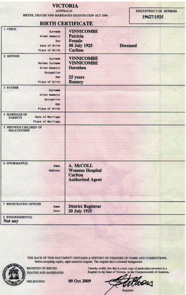 patricia-vinnicombe-birth-certificate