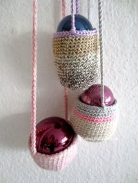 crochet christmas decoration with baubles