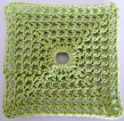 lacy with dot square cotton green