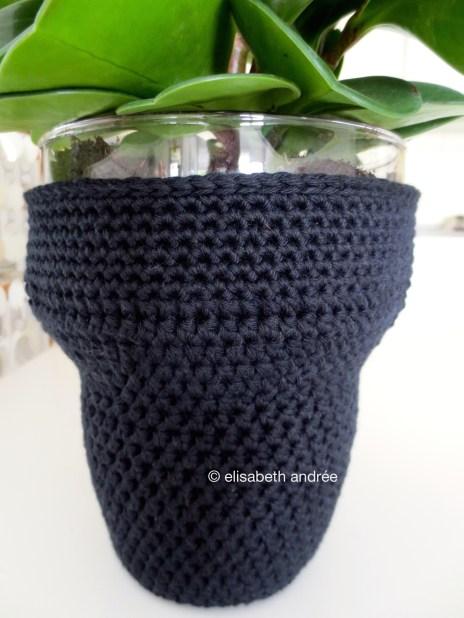 black cotton crochet vase cover