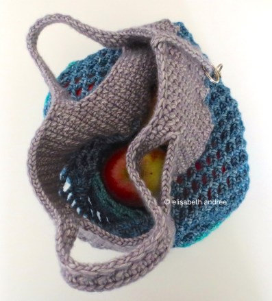 top of small crochet mesh shopper