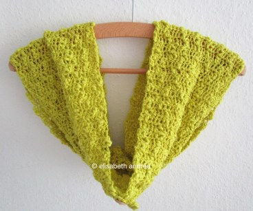 crochet cowl on hanger by elisabeth andrée