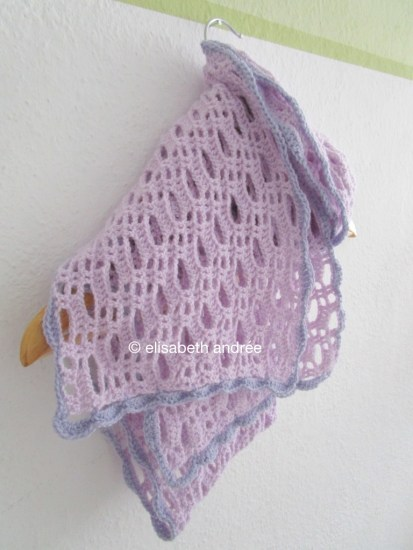 crochet lilac scarf on hanger
