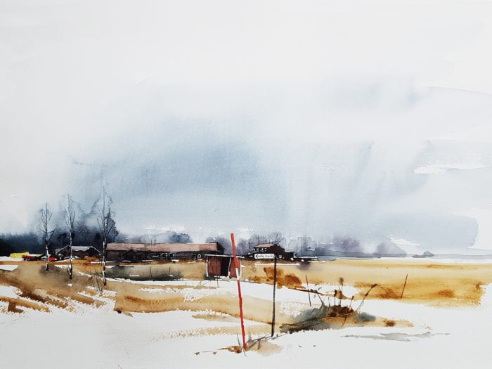 Akvarell Elisabeth Biström 2018 - Karby byväg