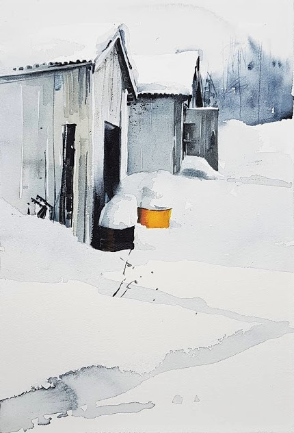 Akvarell av Elisabeth Biström 2018: Vårvinter II