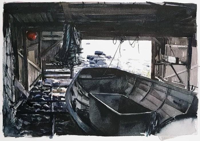 Akvarell av Elisabeth Biström 2018: Båthuset