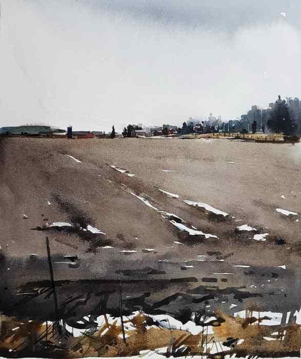 Akvarellmålning av Elisabeth Biström 2018: grannens gård i Sättraby