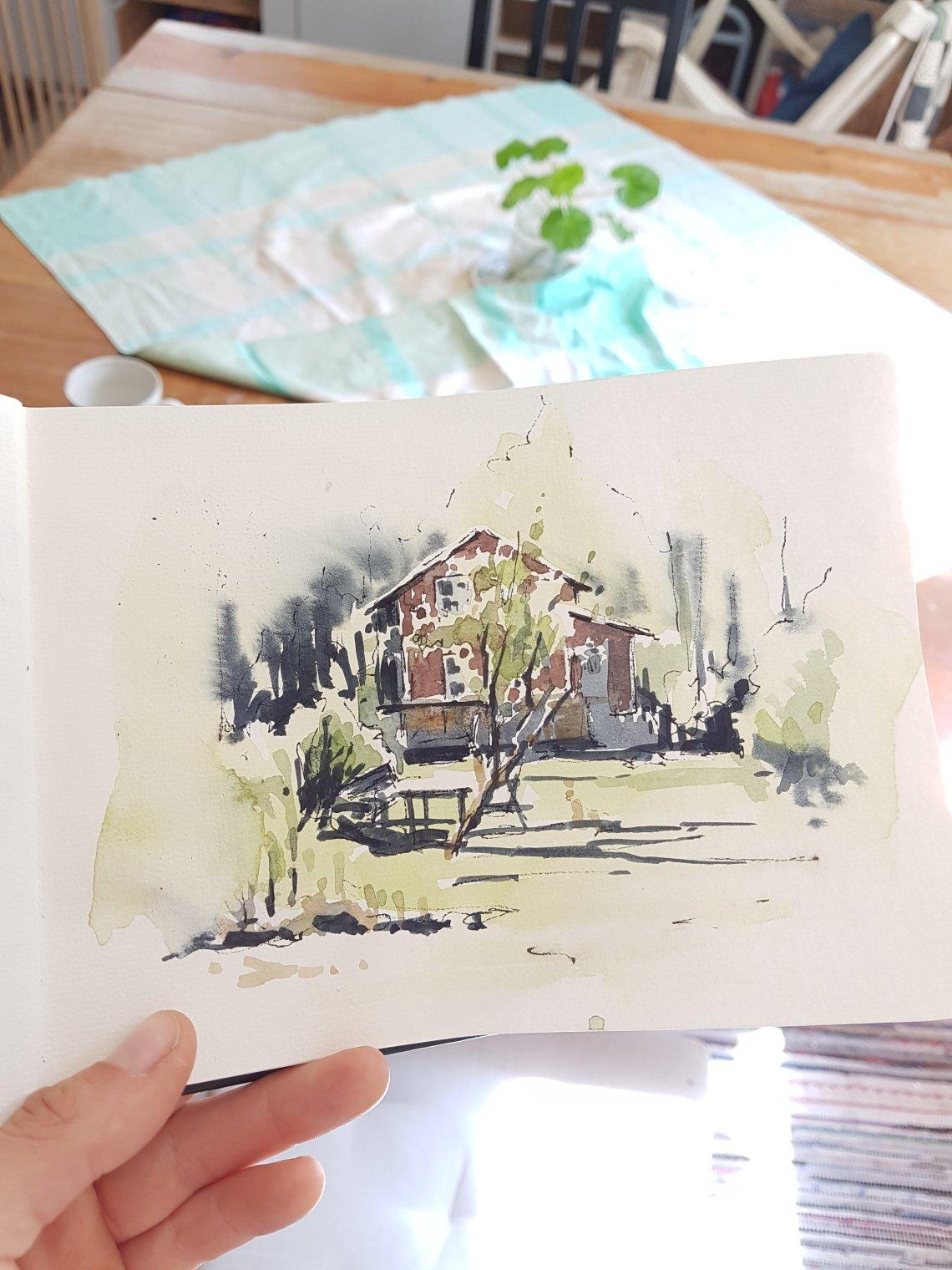 Akvarell av Elisabeth Biström. Mitt hus i maj.