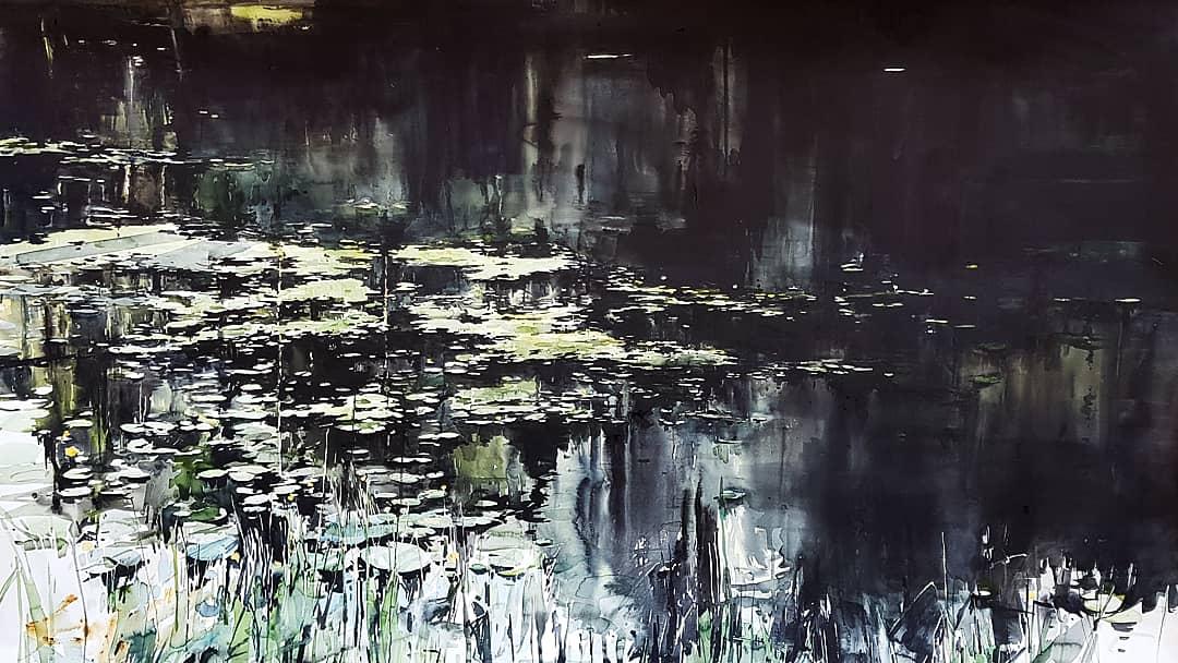 """Elisabeth Biström, """"Tjärn"""", akvarell 2018"""