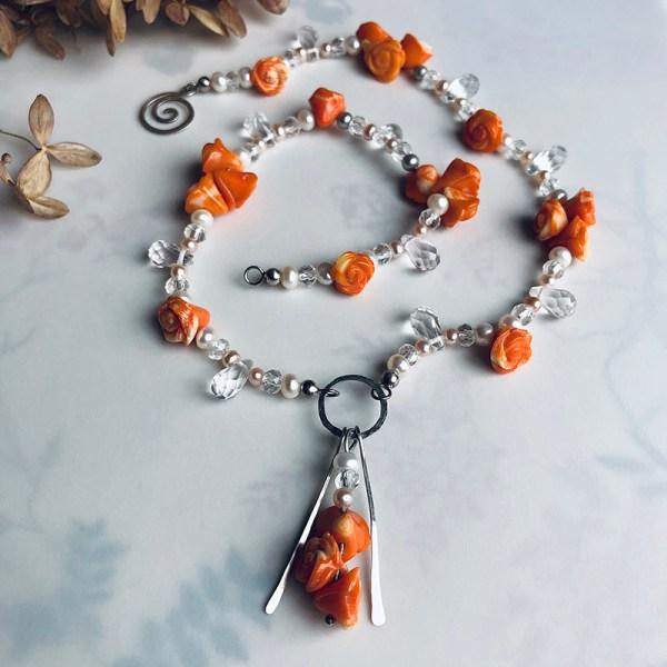 Necklace Orange Flower