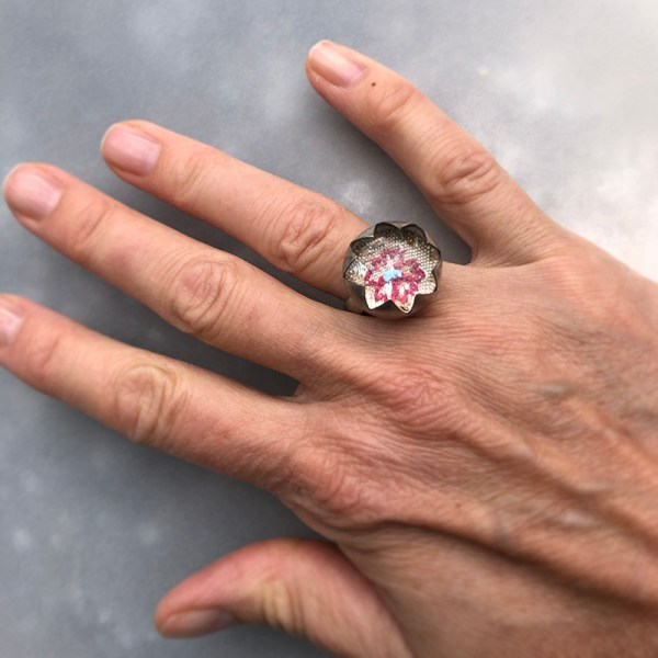Red Flower Ring Handview
