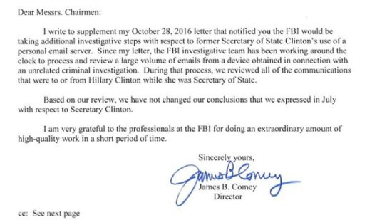 Det här är söndagens brev från FBI-chefen James Comey till den amerikanska kongressen, ett brev som friar Hillary Clinton.