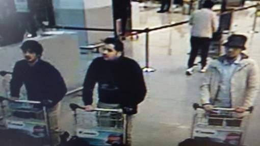 Tre misstänkta terrorister på Zaventem i morse Foto: Polisen i Bryssel