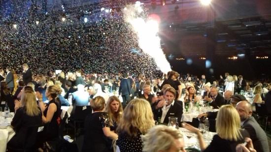 En fantastisk final av Kristallengalan med konfetti och rökeffekter Foto: Elisabet Höglund