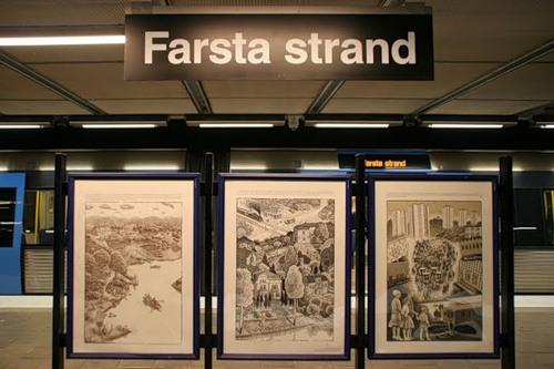Det var här vid Farsta Strand i södra Stockholm som en man blev knivskuren i benet på fredagskvällen. Foto: