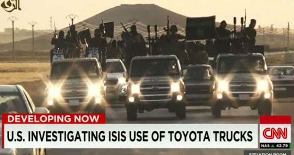 We've seen all the ISIS propaganda videos with them parading through conquered territory in their shiny, new Toyota trucks. But how are they getting them?