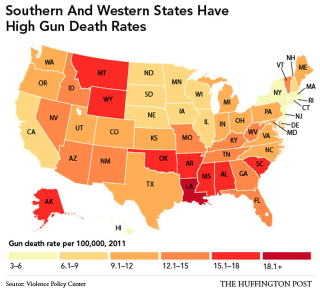 The Southernization of America, map #5. Rate of gun deaths.
