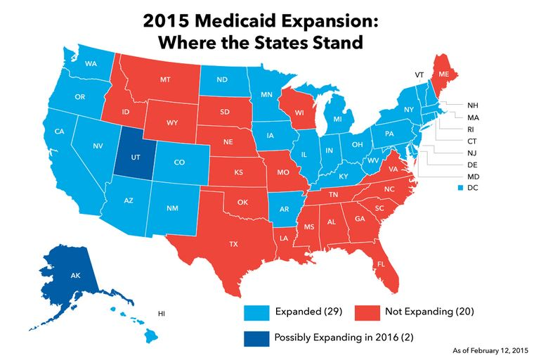 The Southernization of America: Where states stand on the Medicaid expansion in 2015.