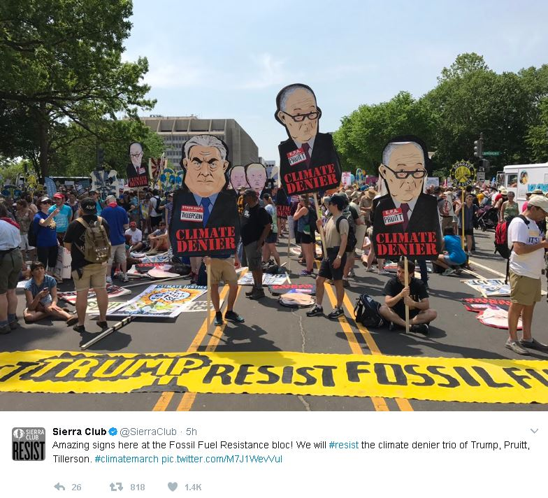 Sierra Club‏Verified account @SierraClub 5h5 hours ago More Amazing signs here at the Fossil Fuel Resistance bloc! We will #resist the climate denier trio of Trump, Pruitt, Tillerson. #climatemarch