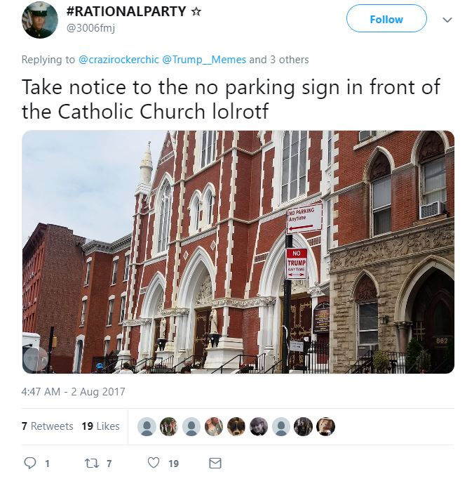 """No Trump"" sign under 'No Parking"" sign."