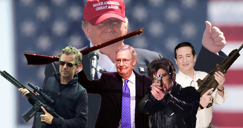 GOP armed insurrection: Sens. Rand Paul, Mitch McConnell, Joni Ernst, and Ted Cruz waving guns. with GOP's president in MAGA hat in the background.
