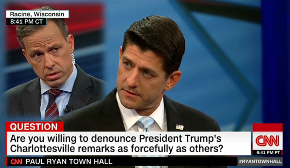 On Monday, House Speaker Paul Ryan (R-Wisc.) took questions from the audience at a Town Hall hosted by CNN in Racine, Wisc.