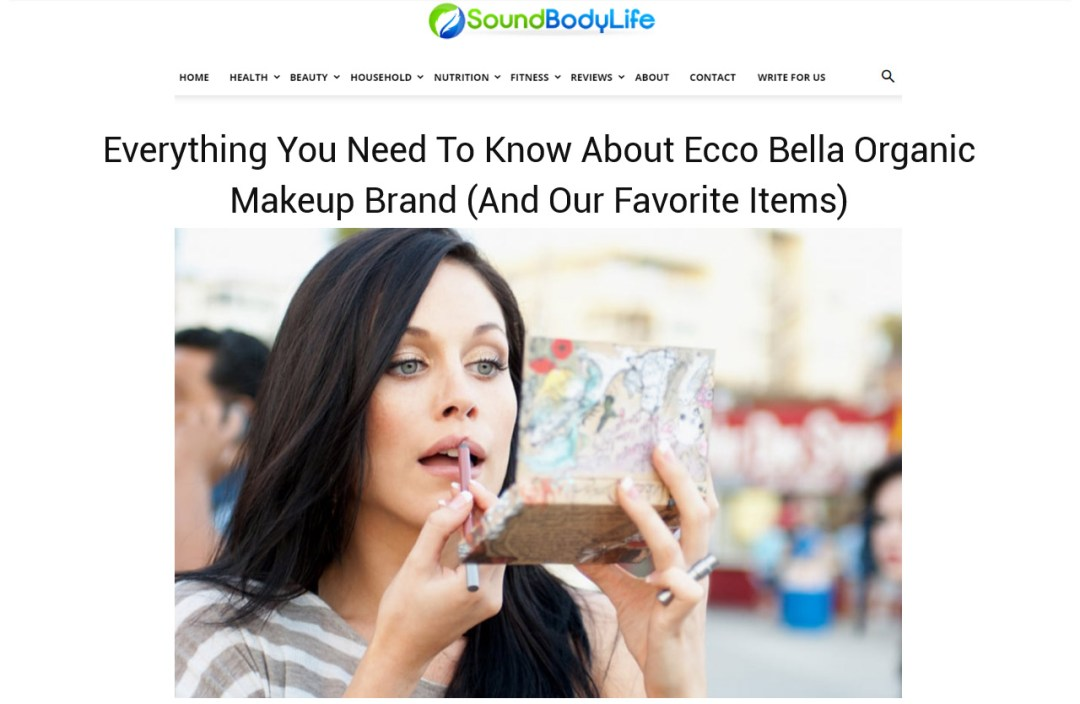 "Photo with woman applying lipstick. ""Ecco Bella Organic Makeup Brand"" - Sound Body Life - Content marketing and editing sample by Elisabeth Parker ."