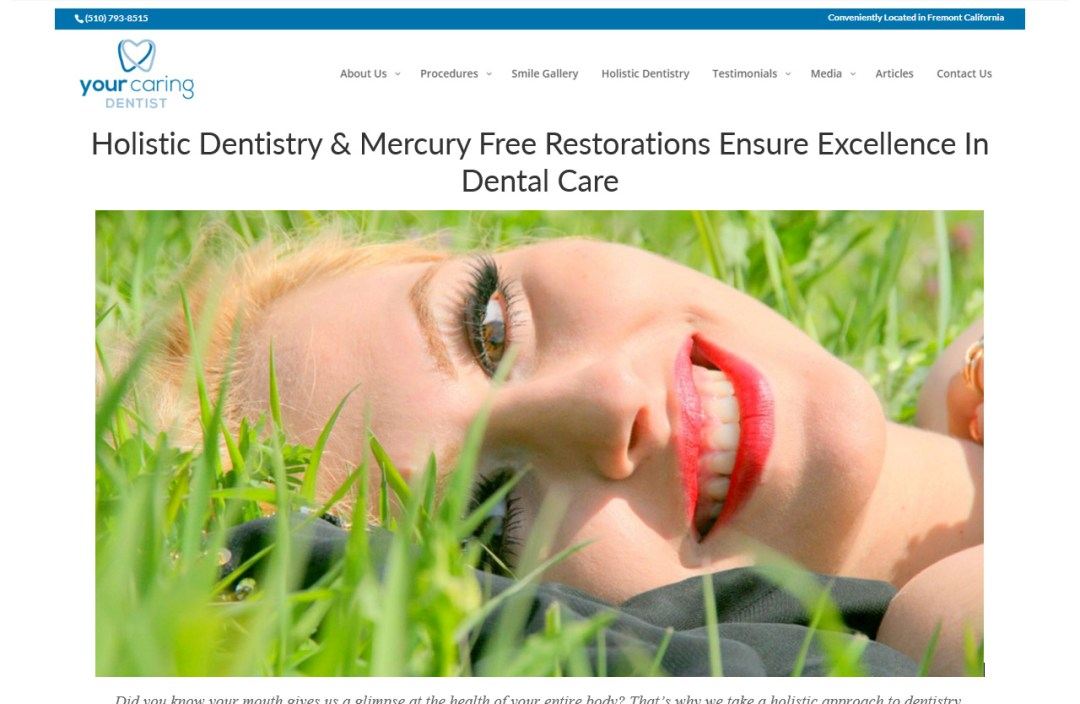 "Headshot with smiling woman in nature. ""Holistic Dentistry"" - Your Caring Dentist - Content writing and editing sample for Elisabeth Parker."