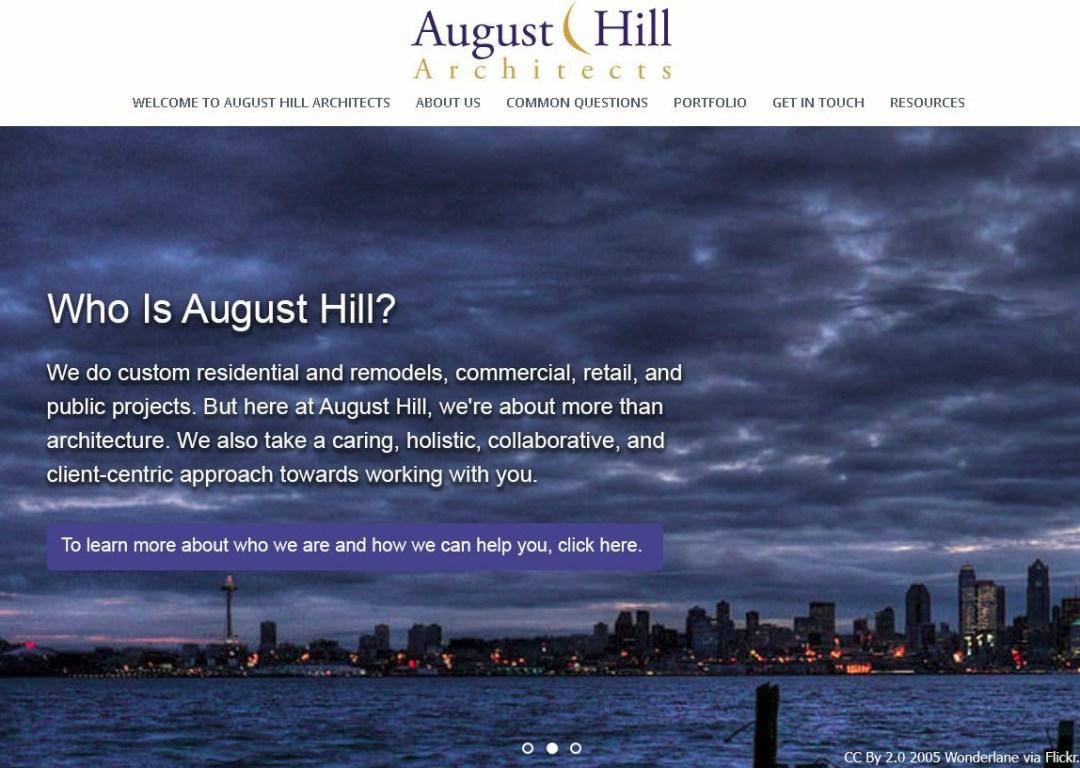 August Hill Architects - Second Slider on home page - Elisabeth Parker's portfolio.