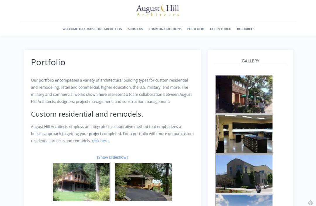 August Hill Architects website revamp - Home page - description and gallery - Elisabeth Parker's portfolio.
