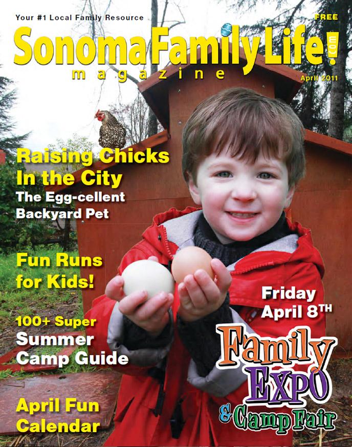 Sonoma Family Life Magazine cover, Calendar Editor, Elisabeth Parker Writing Samples, April 2011.