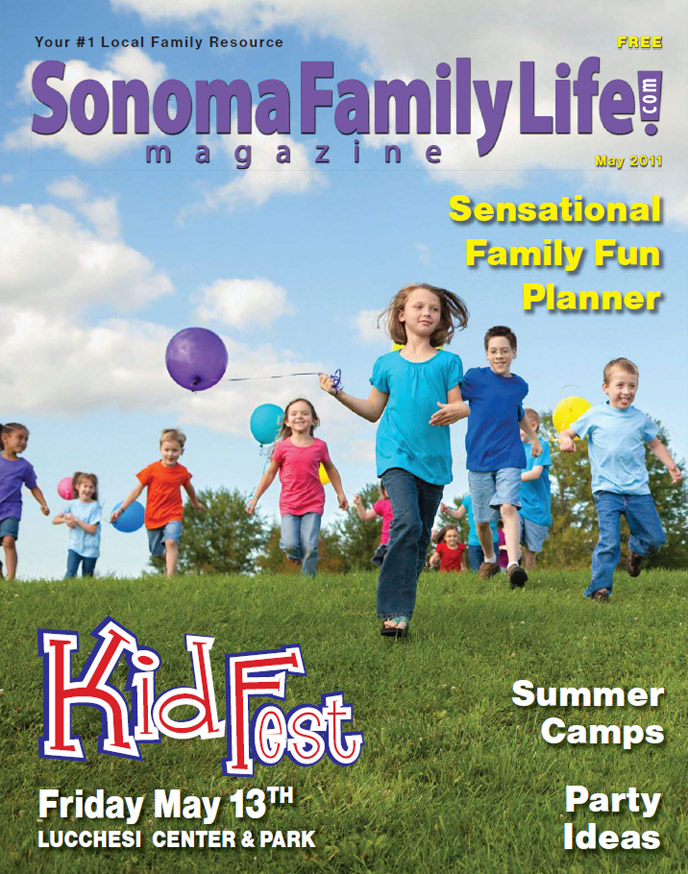 Sonoma Family Life Magazine cover, Calendar Editor, Elisabeth Parker Writing Samples, May 2011.