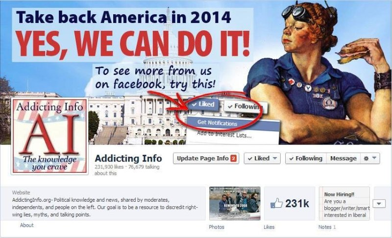 Addicting Info Facebook page - 2014 - new cover photo and profile picture.