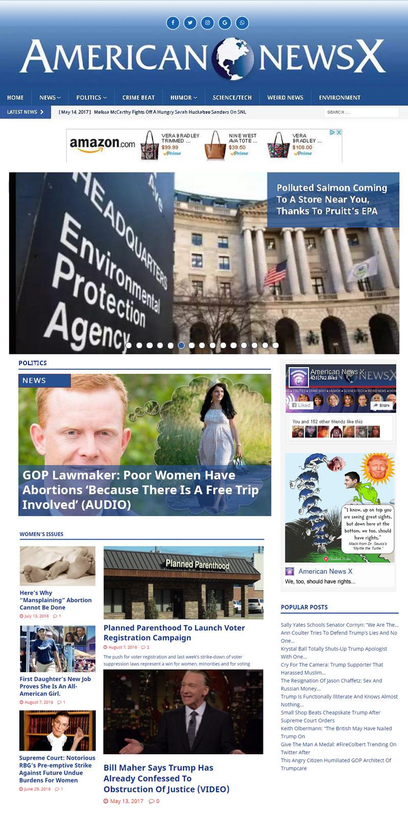 American News X - Site Redesign - Elisabeth Parker's portfolio.