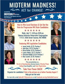 Midterm Madness -- Candidate forum flier for Indivisible Tacoma.