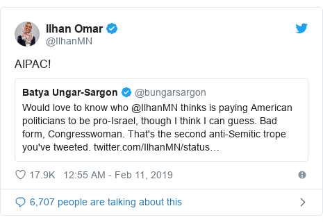 Tweet: Batya Ungar Sargon @bungarsargon: Would love to know who @IlhanMN thinks is paying American politicians to be pro-Israel, though I think I can guess. Bad form, Congresswoman. That's the second anti-Semitic trope you've tweeted.