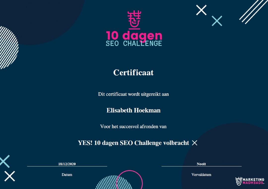 certificaat 10 dagen SEO challenge